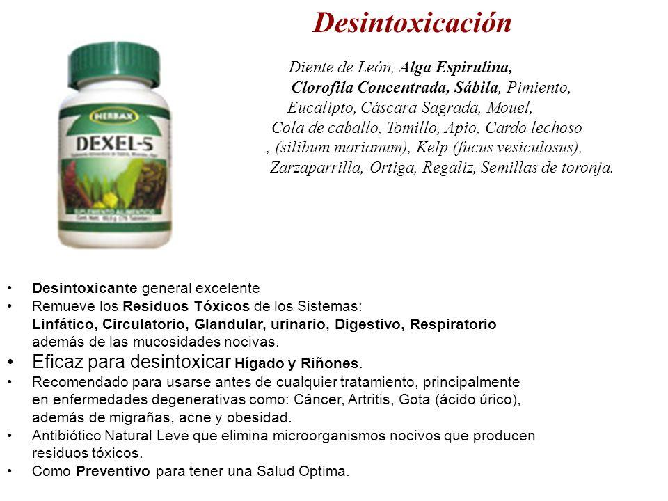 Desintoxicación Diente de León, Alga Espirulina, Clorofila Concentrada, Sábila, Pimiento, Eucalipto, Cáscara Sagrada, Mouel, Cola de caballo, Tomillo,