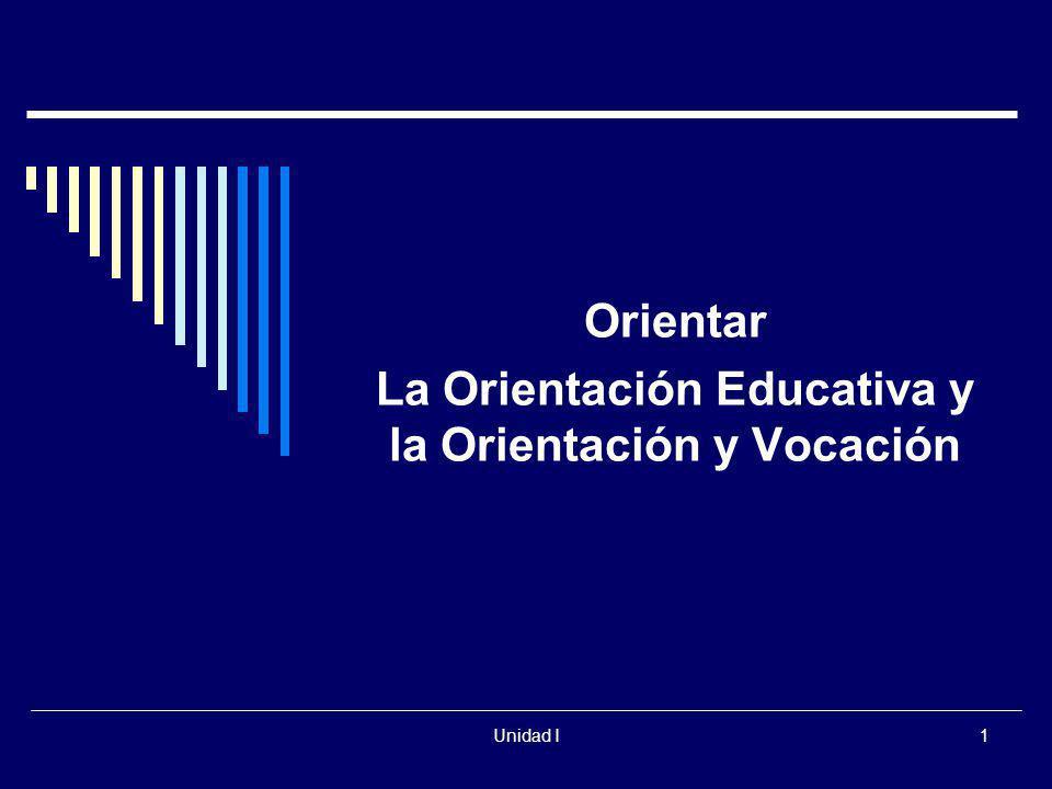 Unidad I1 Orientar La Orientación Educativa y la Orientación y Vocación