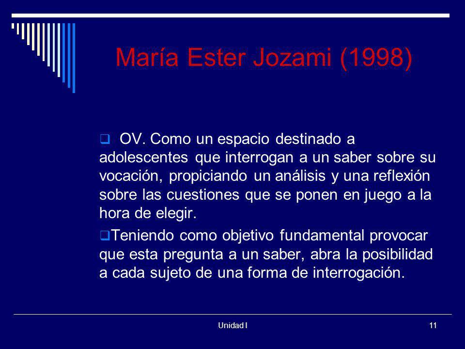 Unidad I11 María Ester Jozami (1998) OV. Como un espacio destinado a adolescentes que interrogan a un saber sobre su vocación, propiciando un análisis