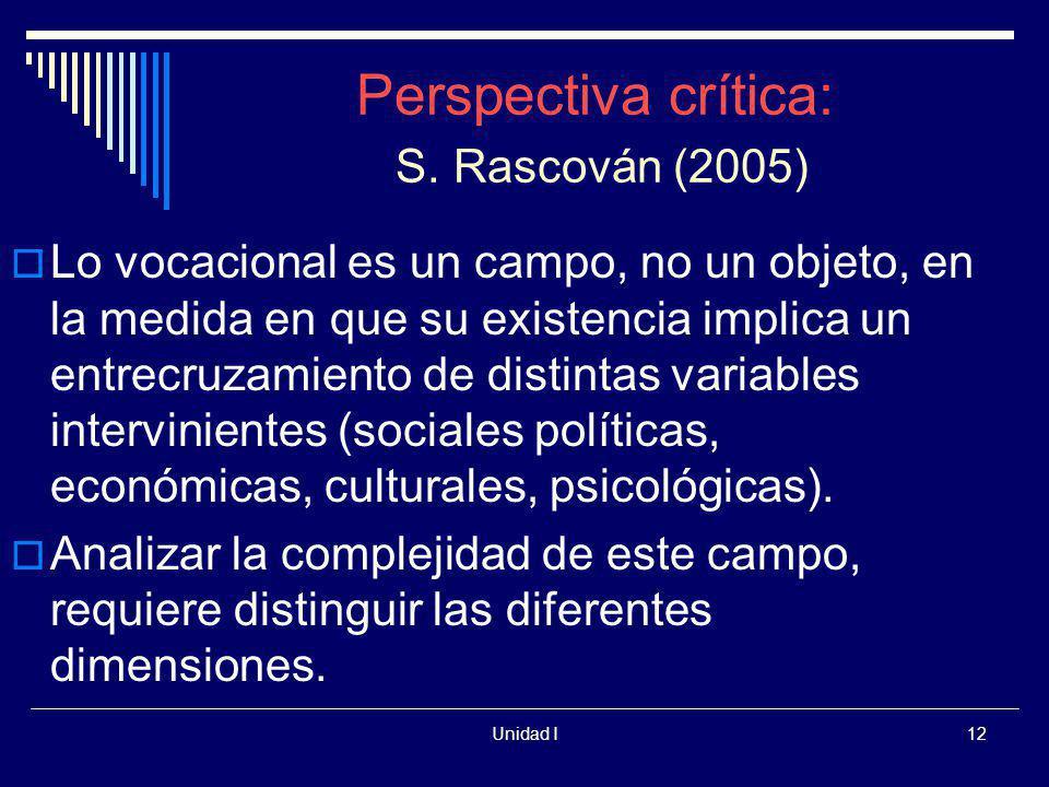 Unidad I12 Perspectiva crítica: S. Rascován (2005) Lo vocacional es un campo, no un objeto, en la medida en que su existencia implica un entrecruzamie