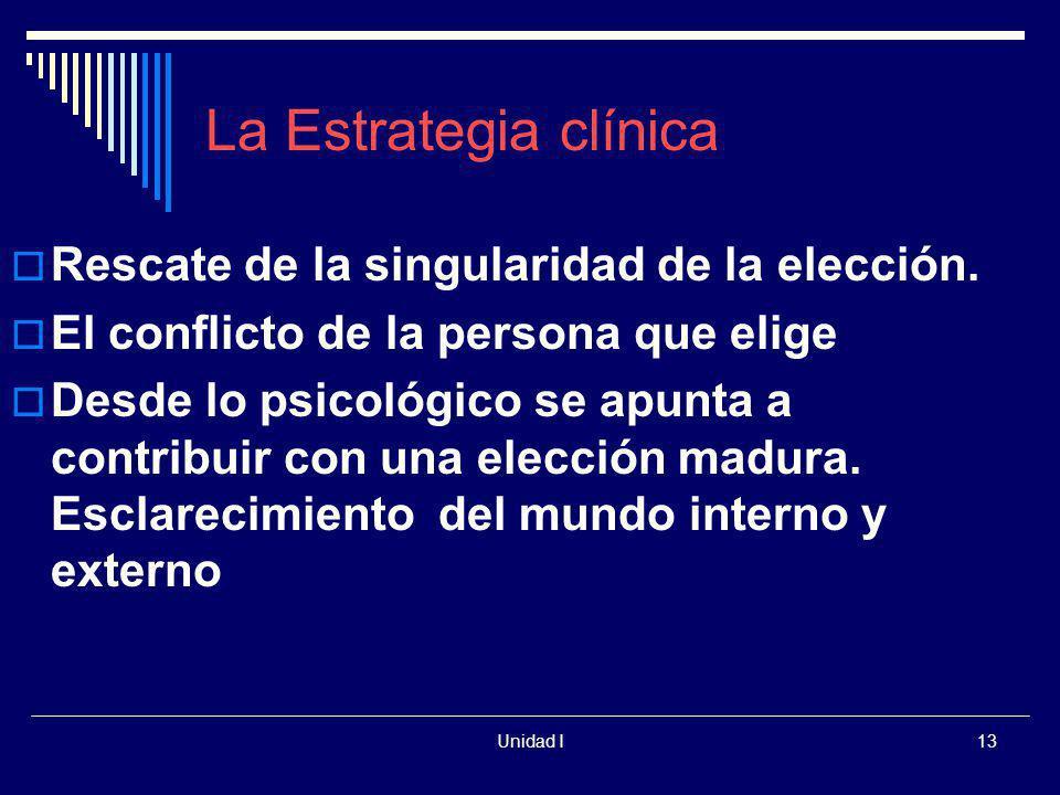 Unidad I13 La Estrategia clínica Rescate de la singularidad de la elección. El conflicto de la persona que elige Desde lo psicológico se apunta a cont