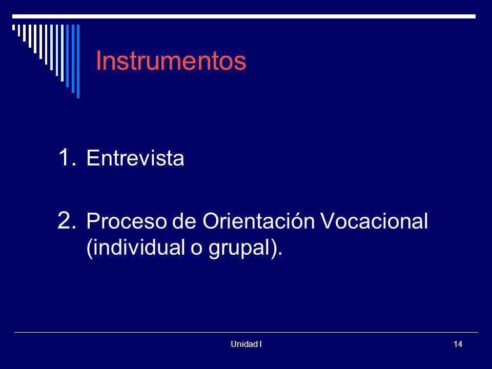 Unidad I14 Instrumentos 1. Entrevista 2. Proceso de Orientación Vocacional (individual o grupal).