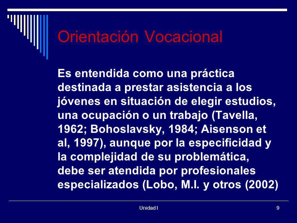 Unidad I9 Es entendida como una práctica destinada a prestar asistencia a los jóvenes en situación de elegir estudios, una ocupación o un trabajo (Tav