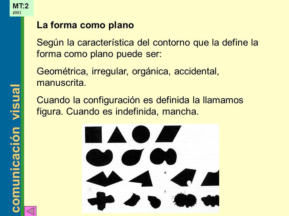 comunicación visual MT:2 2003 La forma como plano Según la característica del contorno que la define la forma como plano puede ser: Geométrica, irregu