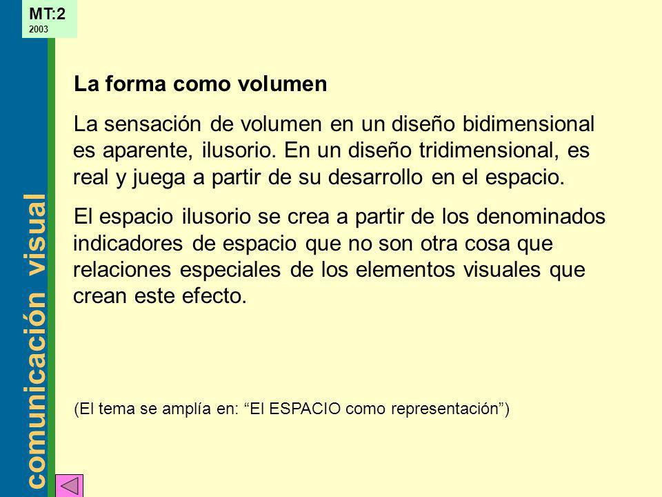 comunicación visual MT:2 2003 La forma como volumen La sensación de volumen en un diseño bidimensional es aparente, ilusorio. En un diseño tridimensio