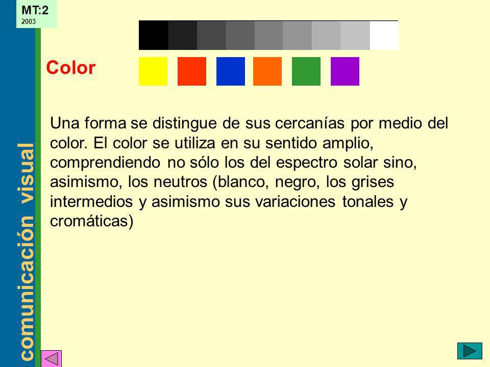 comunicación visual MT:2 2003 Una forma se distingue de sus cercanías por medio del color. El color se utiliza en su sentido amplio, comprendiendo no