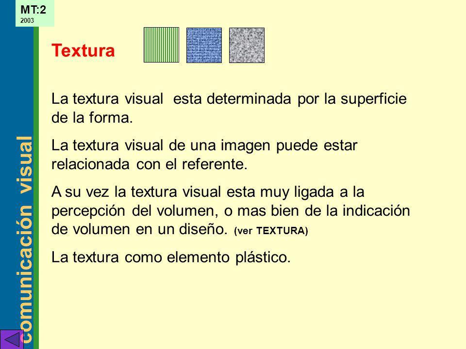 comunicación visual MT:2 2003 La textura visual esta determinada por la superficie de la forma. La textura visual de una imagen puede estar relacionad