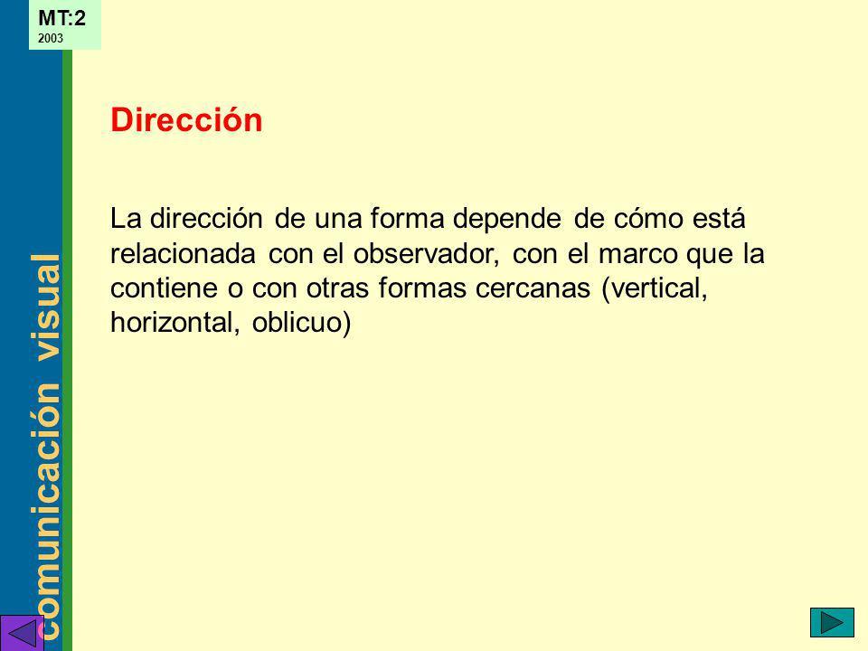 comunicación visual MT:2 2003 La dirección de una forma depende de cómo está relacionada con el observador, con el marco que la contiene o con otras f