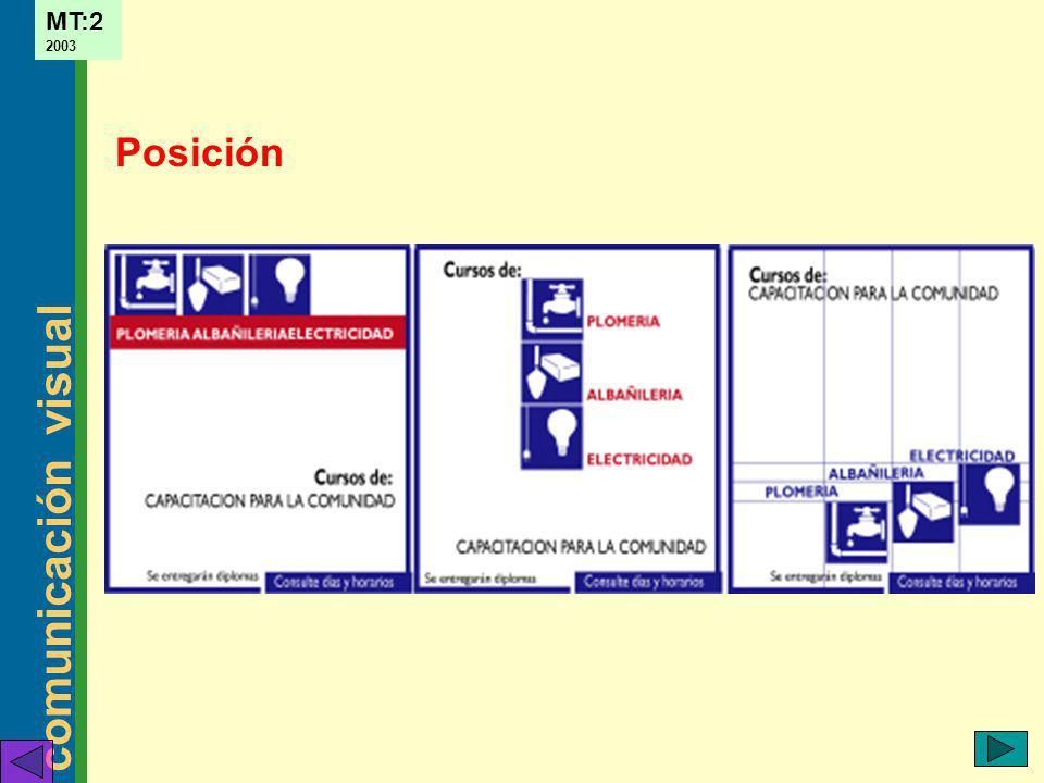 comunicación visual MT:2 2003 Posición ejemplos