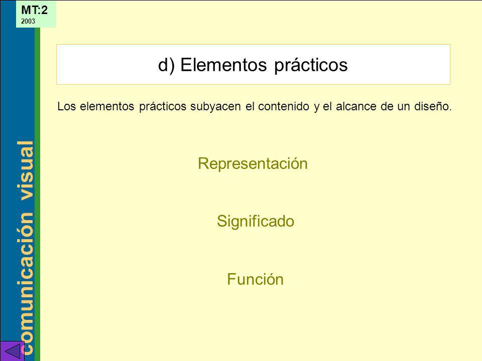 comunicación visual MT:2 2003 Representación Significado Función d) Elementos prácticos Los elementos prácticos subyacen el contenido y el alcance de