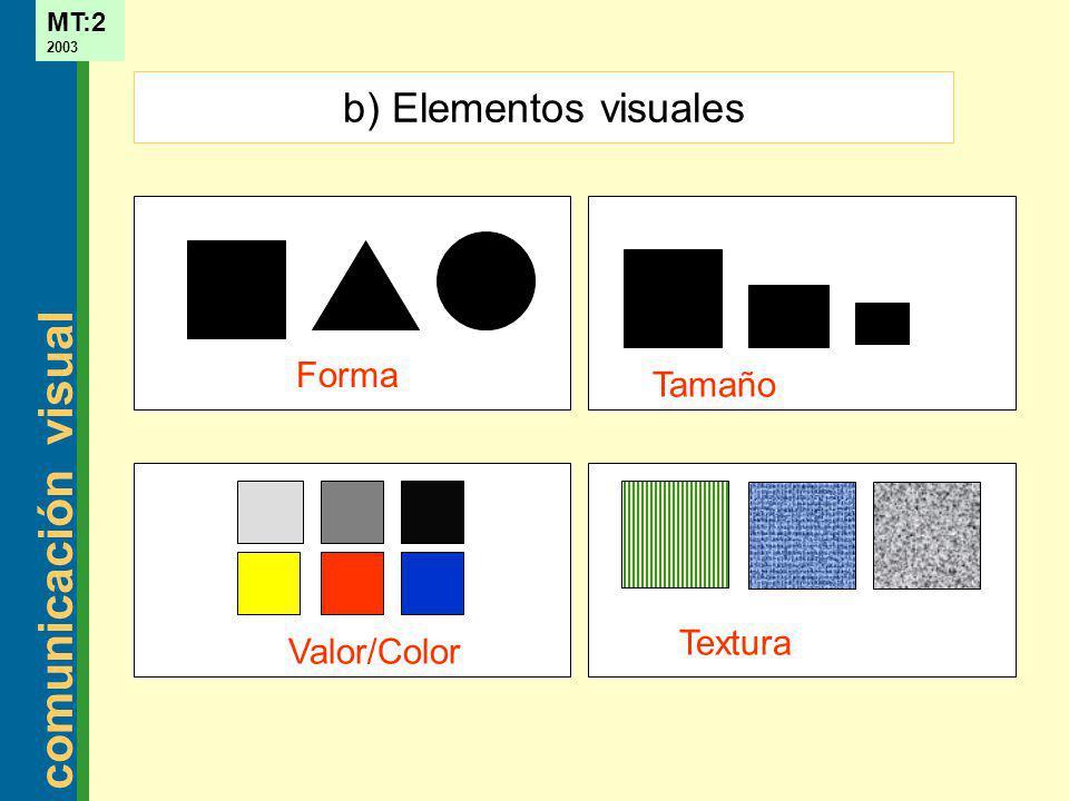 comunicación visual MT:2 2003 Tamaño Valor/Color Textura Forma b) Elementos visuales