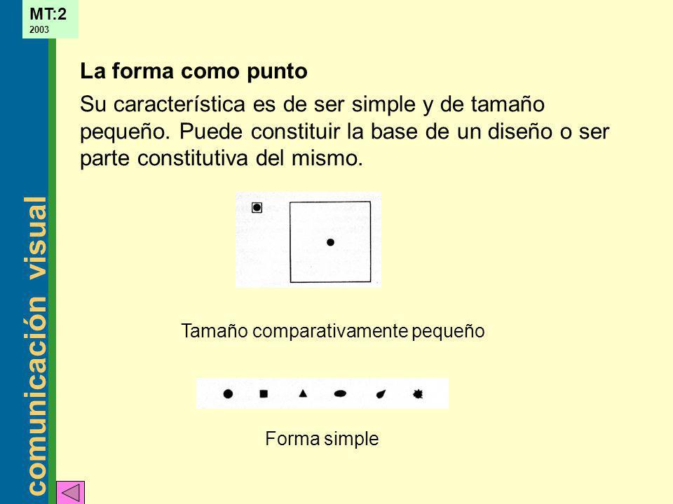 comunicación visual MT:2 2003 La dirección de una forma depende de cómo está relacionada con el observador, con el marco que la contiene o con otras formas cercanas (vertical, horizontal, oblicuo) Dirección
