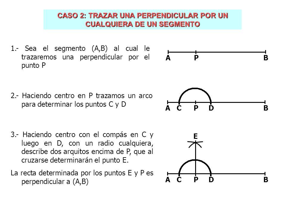 CASO 3: TRAZAR UNA PERPENDICULAR POR EL PUNTO EXTREMO DE UN SEGMENTO 1.- Sea el segmento (A,B) al cual le trazaremos una perpendicular por el extremo A 2.- Fijamos un punto arbitrario C exterior a (A,B) 3.- Haciendo centro con el compás en C trazamos una circunferencia que pase por A y que corte a (A,B) en el punto D AB.