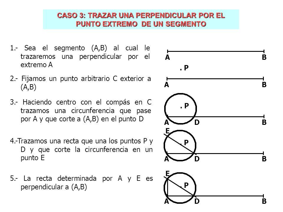 CASO 3: TRAZAR UNA PERPENDICULAR POR EL PUNTO EXTREMO DE UN SEGMENTO 1.- Sea el segmento (A,B) al cual le trazaremos una perpendicular por el extremo