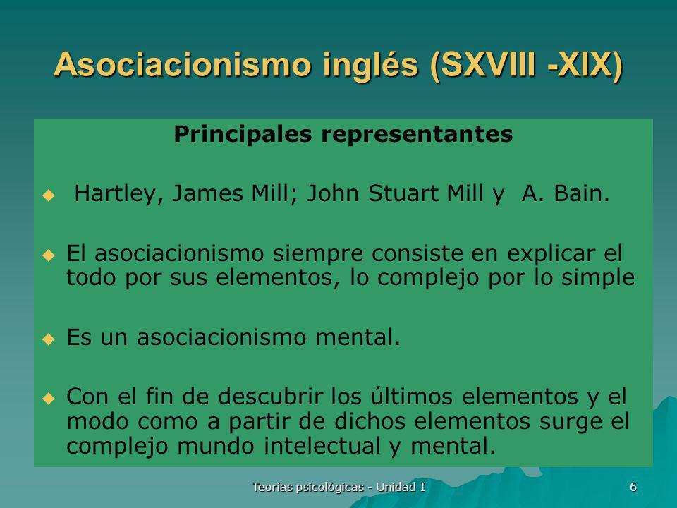 Teorías psicológicas - Unidad I 7 Antecedentes Principios de asociación Asociación por contigüidad en tiempo y espacio.