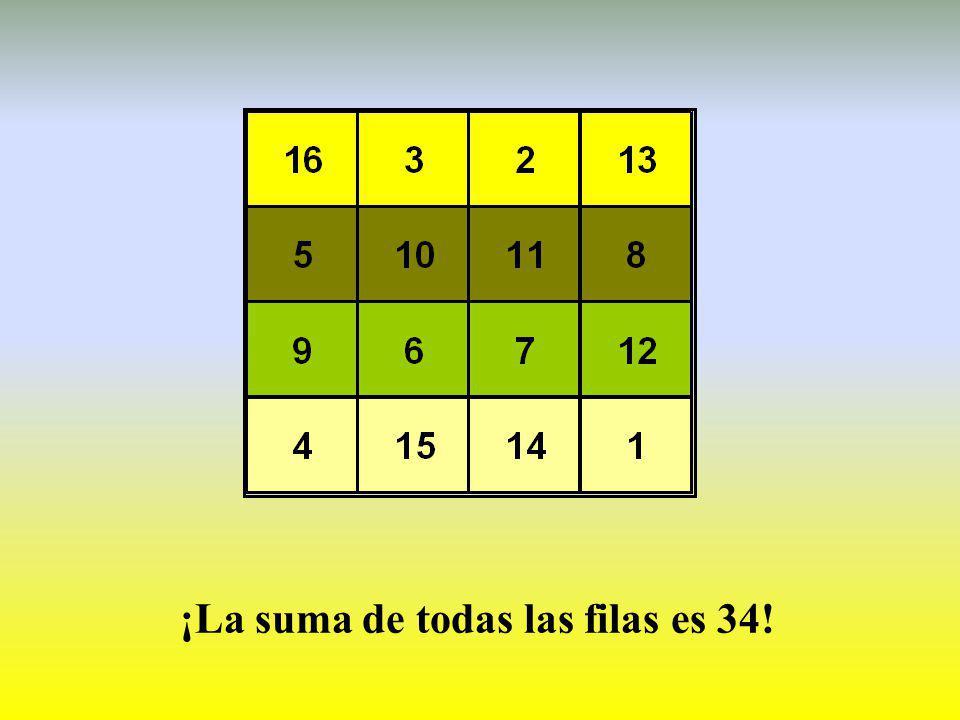 Ampliado sería esto. ¿Y qué tiene de mágico? Te estarás preguntando ¡El número 34! Este número es la suma de diferentes campos del cuadrado.