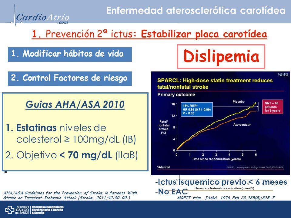 1. Prevención 2ª ictus: Estabilizar placa carotídea Enfermedad aterosclerótica carotídea 1. Modificar hábitos de vida 2. Control Factores de riesgo DM