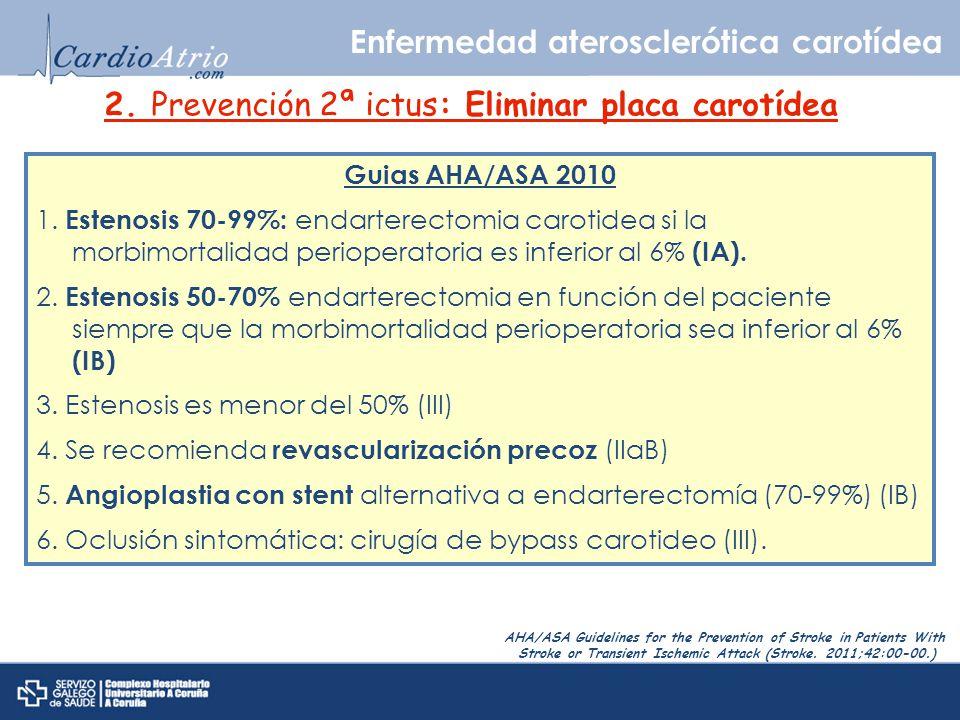 2. Prevención 2ª ictus: Eliminar placa carotídea Guias AHA/ASA 2010 1. Estenosis 70-99%: endarterectomia carotidea si la morbimortalidad perioperatori