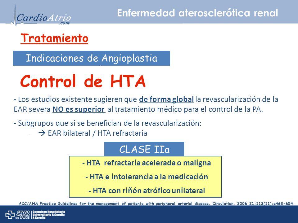 Enfermedad aterosclerótica renal Tratamiento Indicaciones de Angioplastia percutánea Control de HTA - Los estudios existente sugieren que de forma glo