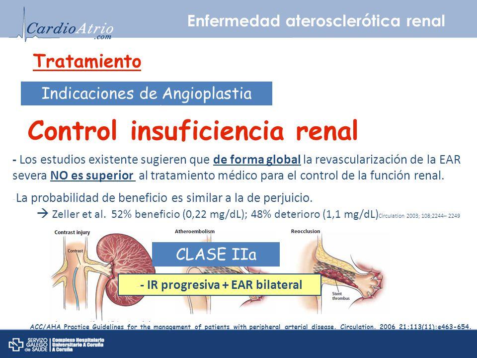 Enfermedad aterosclerótica renal Tratamiento Indicaciones de Angioplastia percutánea Control insuficiencia renal - Los estudios existente sugieren que