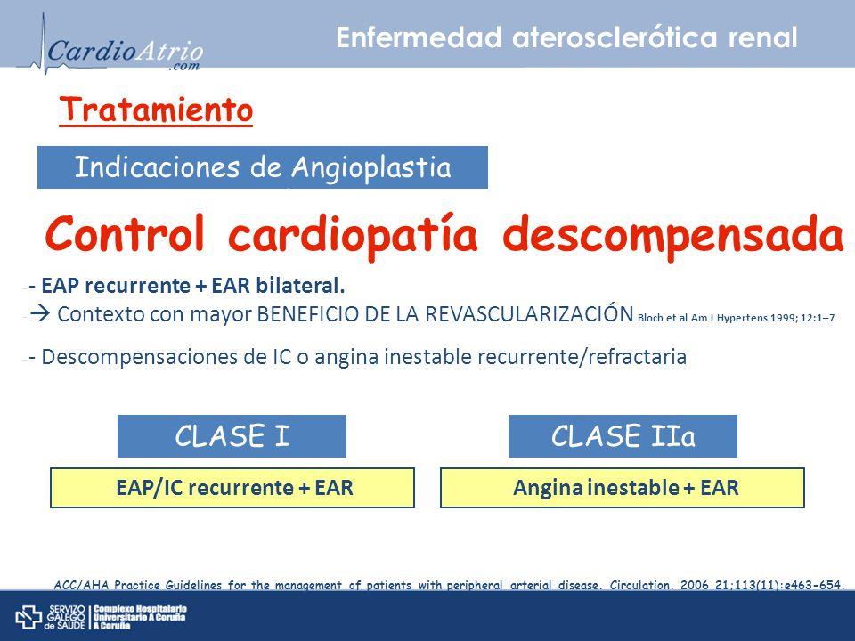 Enfermedad aterosclerótica renal Tratamiento Indicaciones de Angioplastia percutánea Control cardiopatía descompensada - - EAP recurrente + EAR bilate