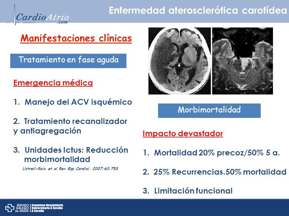Diagnóstico ictus aterotrombótico Enfermedad aterosclerótica carotídea Criterio obligado - Estenosis significativa > 50%/placa ulcerada arteria intra-extracraneal ipsilateral - Ausencia de cardiopatía embolígena Ultrasonidos Ventajas Inconvenientes - Alta sensibilidad y especifidad - Nula morbilidad.