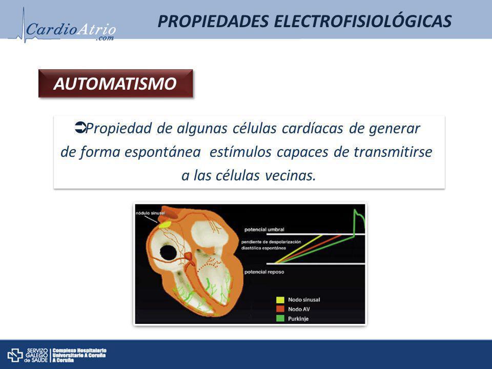 PROPIEDADES ELECTROFISIOLÓGICAS AUTOMATISMO Propiedad de algunas células cardíacas de generar de forma espontánea estímulos capaces de transmitirse a