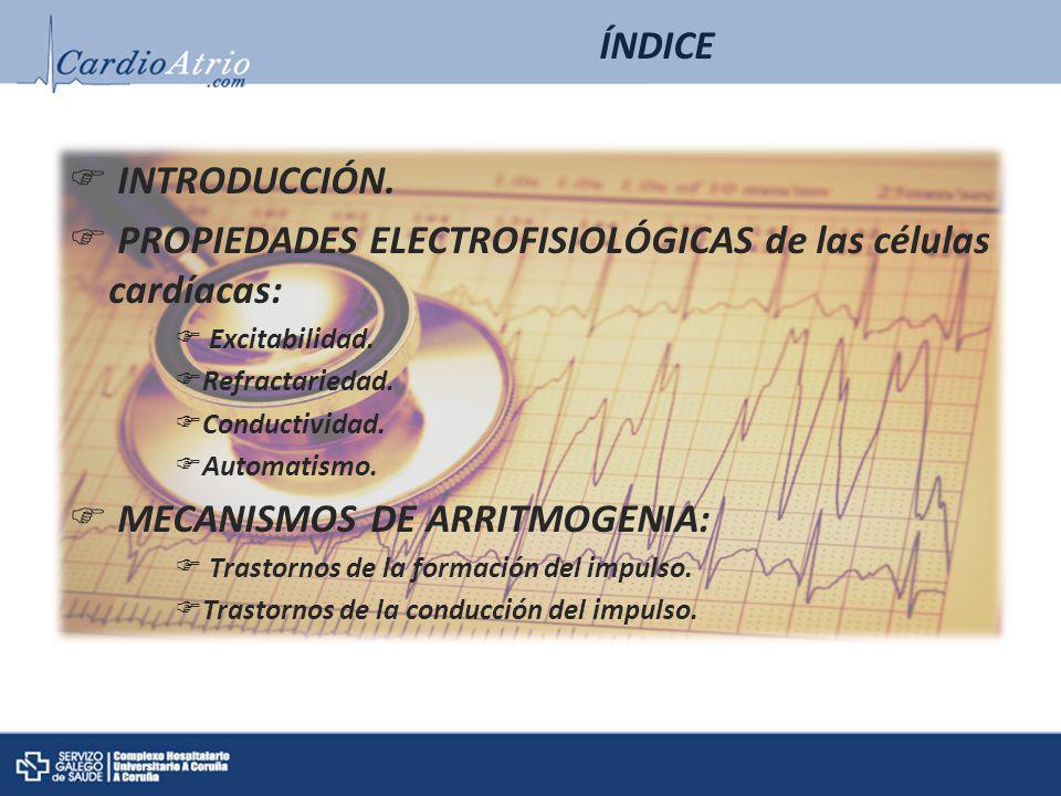 INTRODUCCIÓN. PROPIEDADES ELECTROFISIOLÓGICAS de las células cardíacas: Excitabilidad. Refractariedad. Conductividad. Automatismo. MECANISMOS DE ARRIT