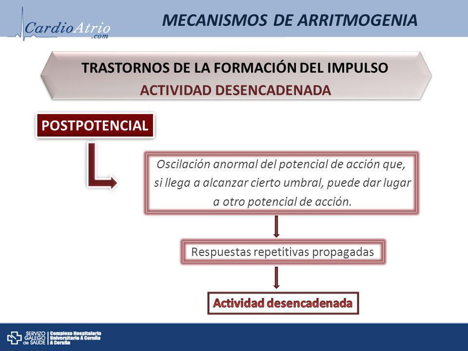 MECANISMOS DE ARRITMOGENIA TRASTORNOS DE LA FORMACIÓN DEL IMPULSO ACTIVIDAD DESENCADENADA TRASTORNOS DE LA FORMACIÓN DEL IMPULSO ACTIVIDAD DESENCADENA