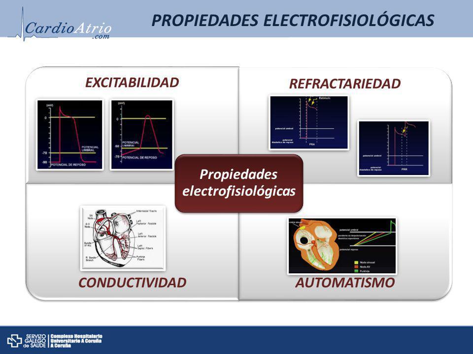 EXCITABILIDAD REFRACTARIEDAD CONDUCTIVIDADAUTOMATISMO Propiedades electrofisiológicas PROPIEDADES ELECTROFISIOLÓGICAS