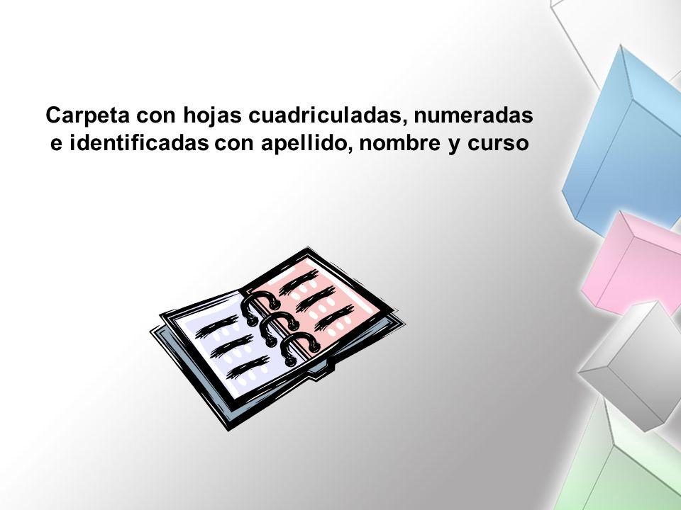 Carpeta con hojas cuadriculadas, numeradas e identificadas con apellido, nombre y curso