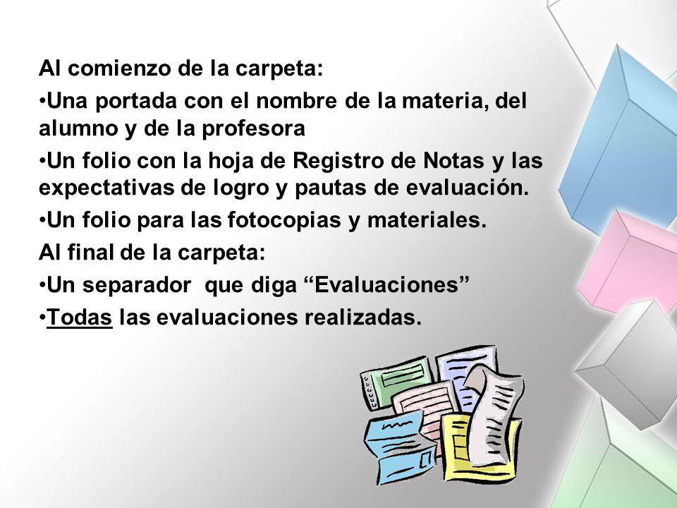 Al comienzo de la carpeta: Una portada con el nombre de la materia, del alumno y de la profesora Un folio con la hoja de Registro de Notas y las expectativas de logro y pautas de evaluación.