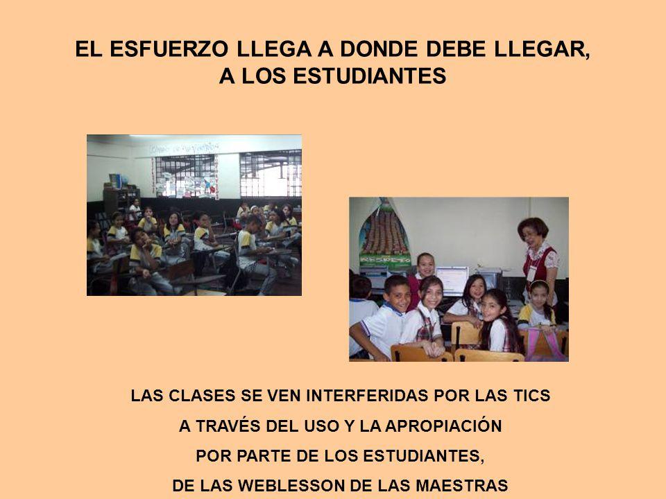EL ESFUERZO LLEGA A DONDE DEBE LLEGAR, A LOS ESTUDIANTES LAS CLASES SE VEN INTERFERIDAS POR LAS TICS A TRAVÉS DEL USO Y LA APROPIACIÓN POR PARTE DE LOS ESTUDIANTES, DE LAS WEBLESSON DE LAS MAESTRAS