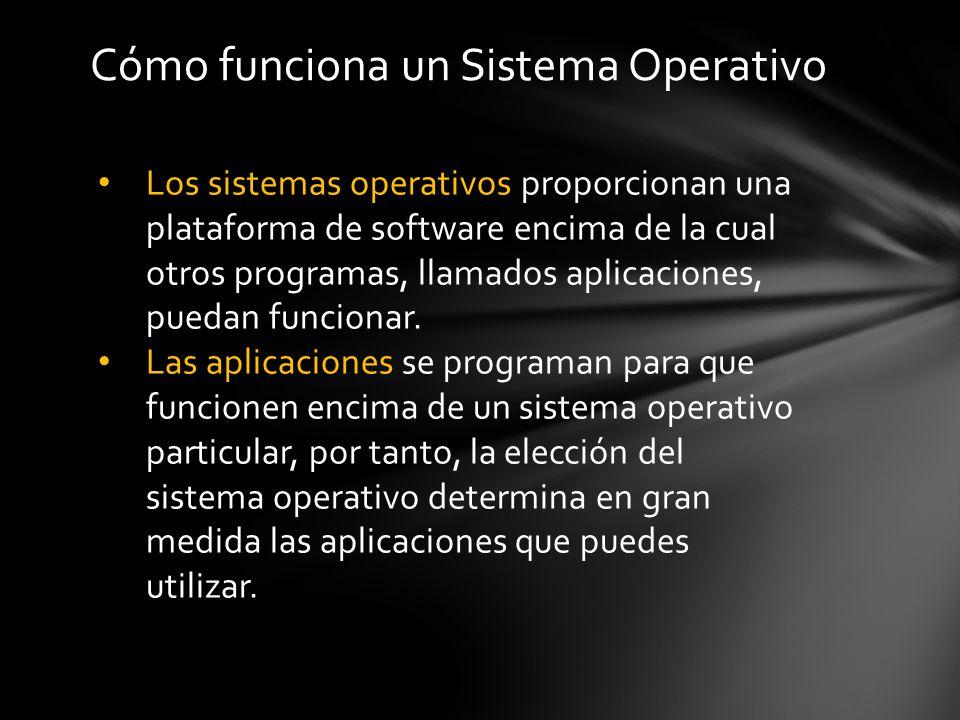 Los sistemas operativos proporcionan una plataforma de software encima de la cual otros programas, llamados aplicaciones, puedan funcionar.