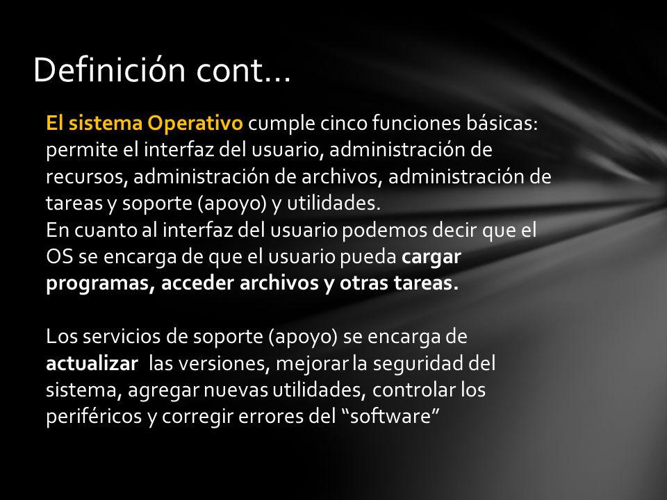 Definición cont… El sistema Operativo cumple cinco funciones básicas: permite el interfaz del usuario, administración de recursos, administración de archivos, administración de tareas y soporte (apoyo) y utilidades.