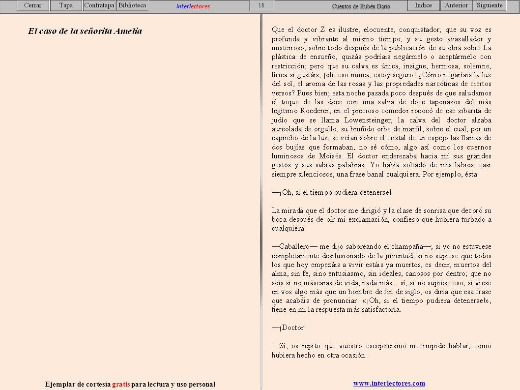 www.interlectores.com Ejemplar de cortesía gratis para lectura y uso personal 18 interlectores Cuentos de Rubén Dario