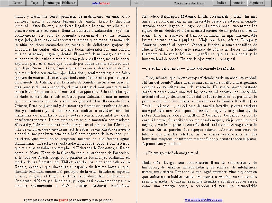 www.interlectores.com Ejemplar de cortesía gratis para lectura y uso personal 20 interlectores Cuentos de Rubén Dario