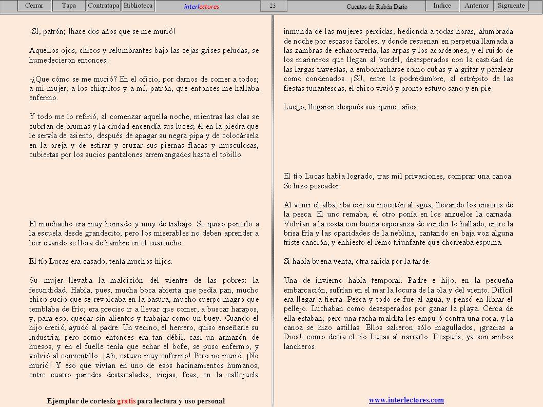 www.interlectores.com Ejemplar de cortesía gratis para lectura y uso personal 23 interlectores Cuentos de Rubén Dario