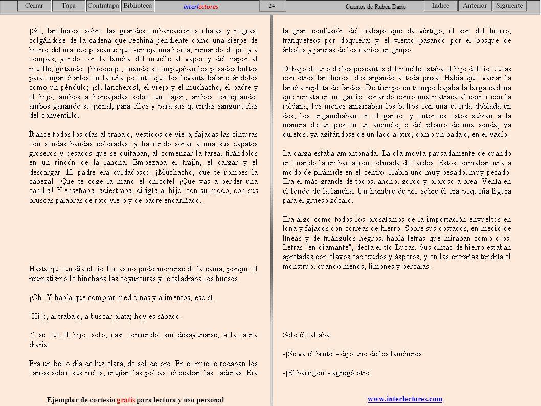 www.interlectores.com Ejemplar de cortesía gratis para lectura y uso personal 24 interlectores Cuentos de Rubén Dario