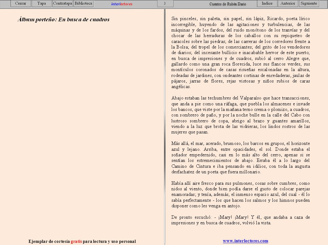 www.interlectores.com Ejemplar de cortesía gratis para lectura y uso personal 54 interlectores Cuentos de Rubén Dario