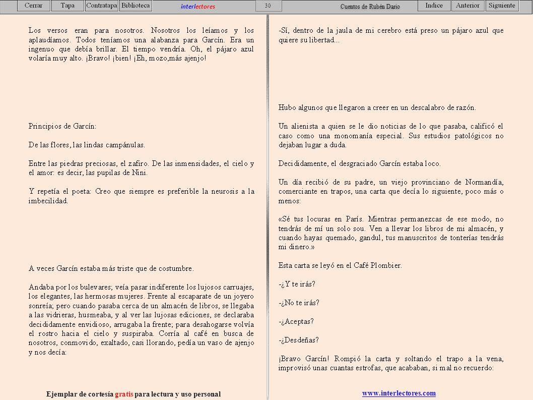 www.interlectores.com Ejemplar de cortesía gratis para lectura y uso personal 30 interlectores Cuentos de Rubén Dario