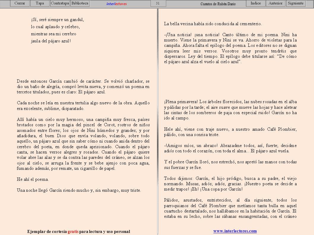www.interlectores.com Ejemplar de cortesía gratis para lectura y uso personal 31 interlectores Cuentos de Rubén Dario