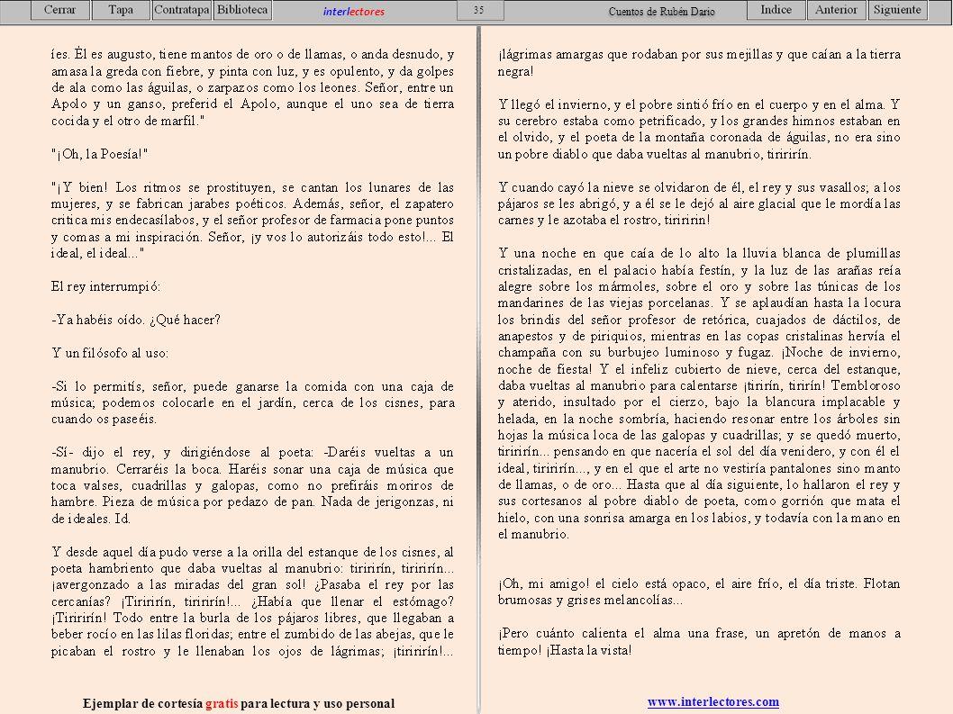 www.interlectores.com Ejemplar de cortesía gratis para lectura y uso personal 35 interlectores Cuentos de Rubén Dario