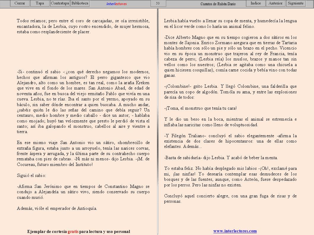 www.interlectores.com Ejemplar de cortesía gratis para lectura y uso personal 50 interlectores Cuentos de Rubén Dario