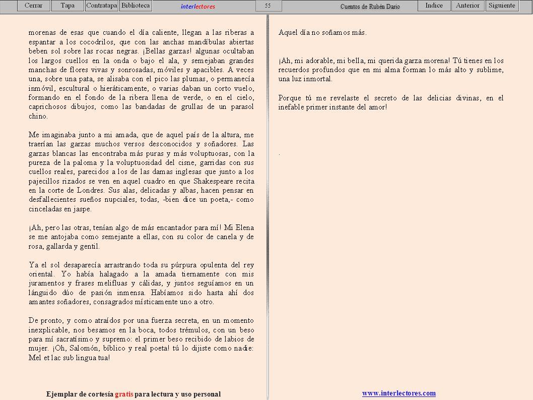 www.interlectores.com Ejemplar de cortesía gratis para lectura y uso personal 55 interlectores Cuentos de Rubén Dario