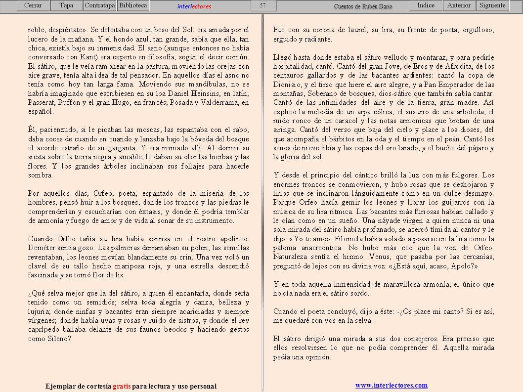 www.interlectores.com Ejemplar de cortesía gratis para lectura y uso personal 57 interlectores Cuentos de Rubén Dario