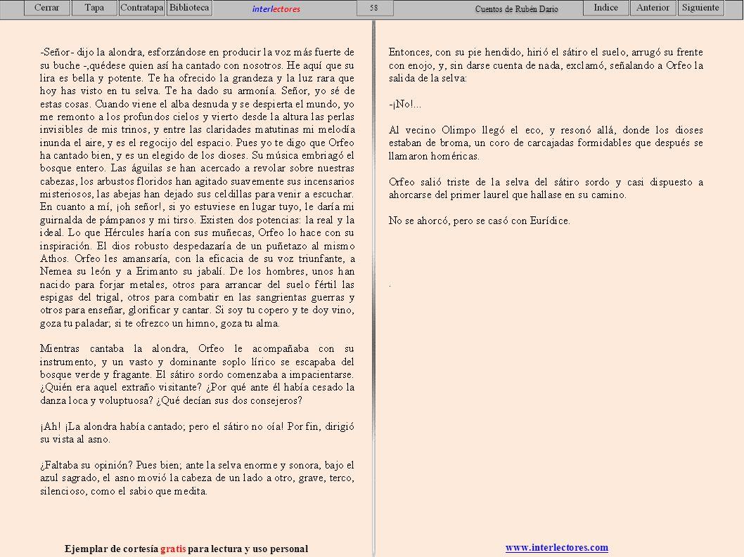 www.interlectores.com Ejemplar de cortesía gratis para lectura y uso personal 58 interlectores Cuentos de Rubén Dario