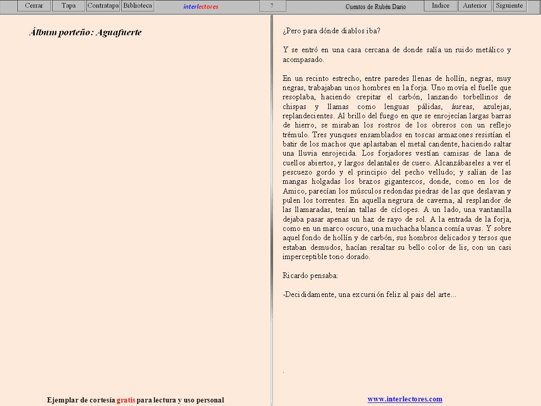 www.interlectores.com Ejemplar de cortesía gratis para lectura y uso personal 28 interlectores Cuentos de Rubén Dario