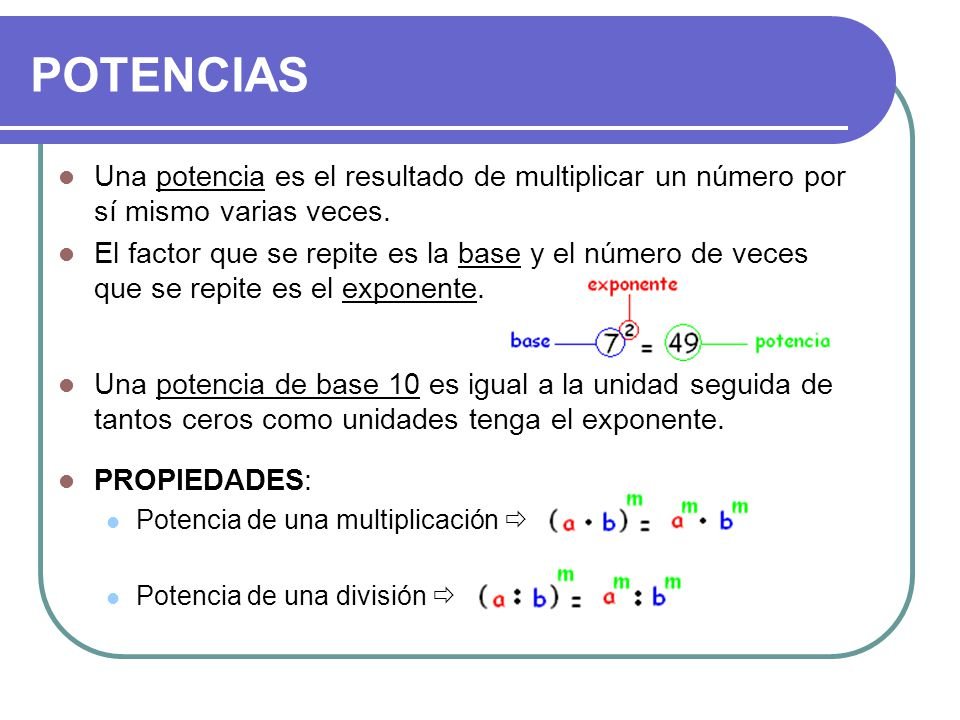 Una potencia es el resultado de multiplicar un número por sí mismo varias veces. El factor que se repite es la base y el número de veces que se repite