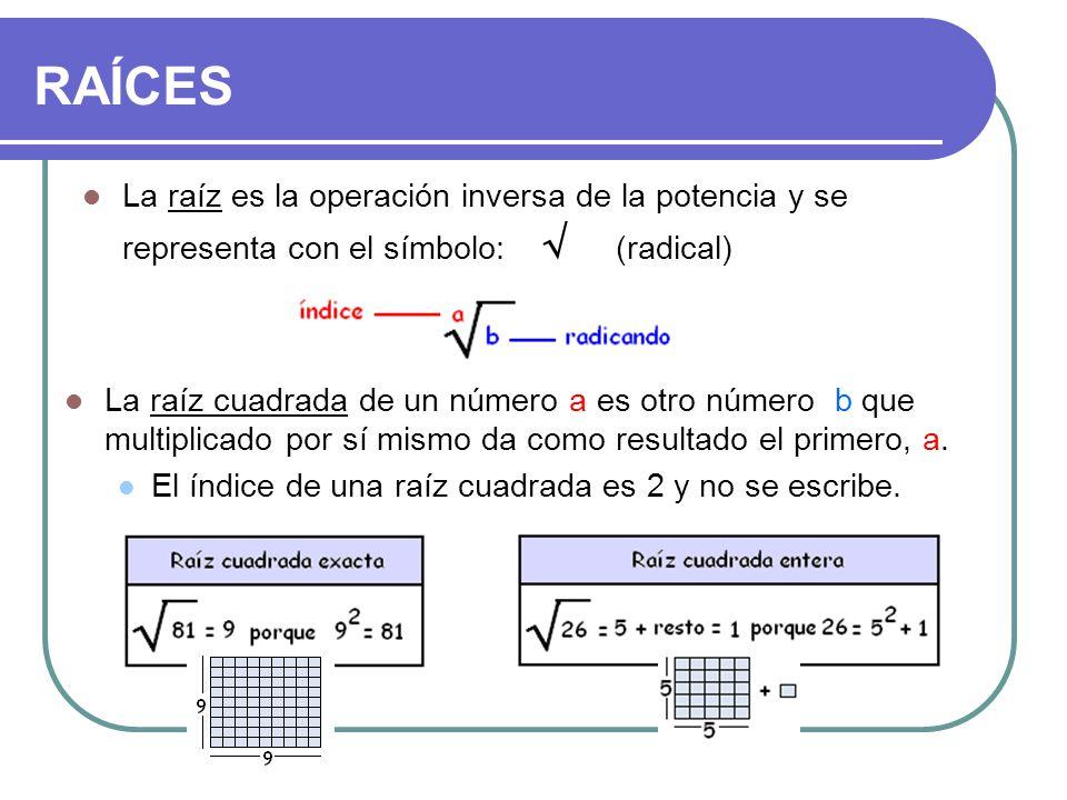 RAÍCES La raíz cuadrada de un número a es otro número b que multiplicado por sí mismo da como resultado el primero, a. El índice de una raíz cuadrada